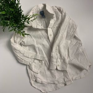 Baby gap white linen shirt long sleeve button up